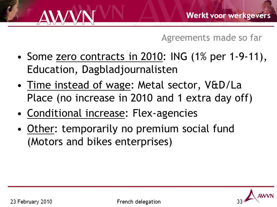 Werkt voor werkgevers French delegation33 Some zero contracts in 2010: ING (1% per 1-9-11), Education, Dagbladjournalisten Time instead of wage: Metal sector, V&D/La Place (no increase in 2010 and 1 extra day off) Conditional increase: Flex-agencies Other: temporarily no premium social fund (Motors and bikes enterprises) Agreements made so far 23 February 2010