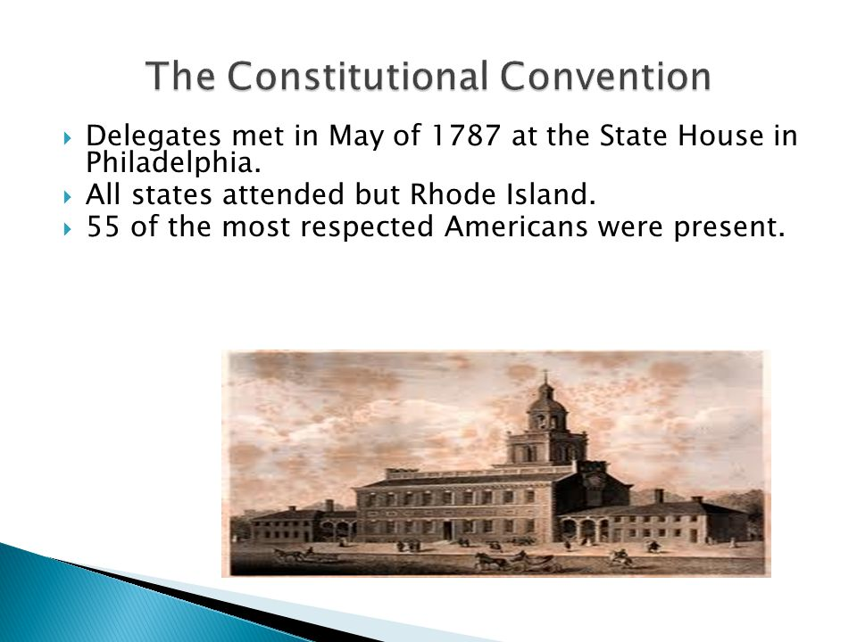  Delegates met in May of 1787 at the State House in Philadelphia.