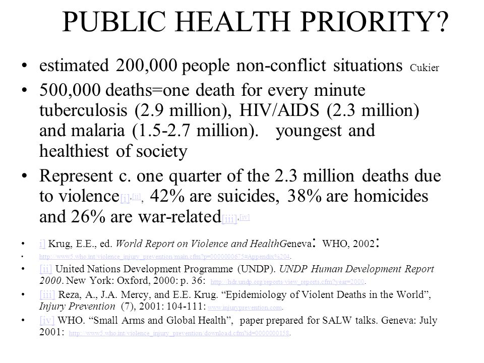 PUBLIC HEALTH PRIORITY? estimated 200,000 people non-conflict situations Cukier 500,000 deaths=one death for every minute tuberculosis (2.9 million),
