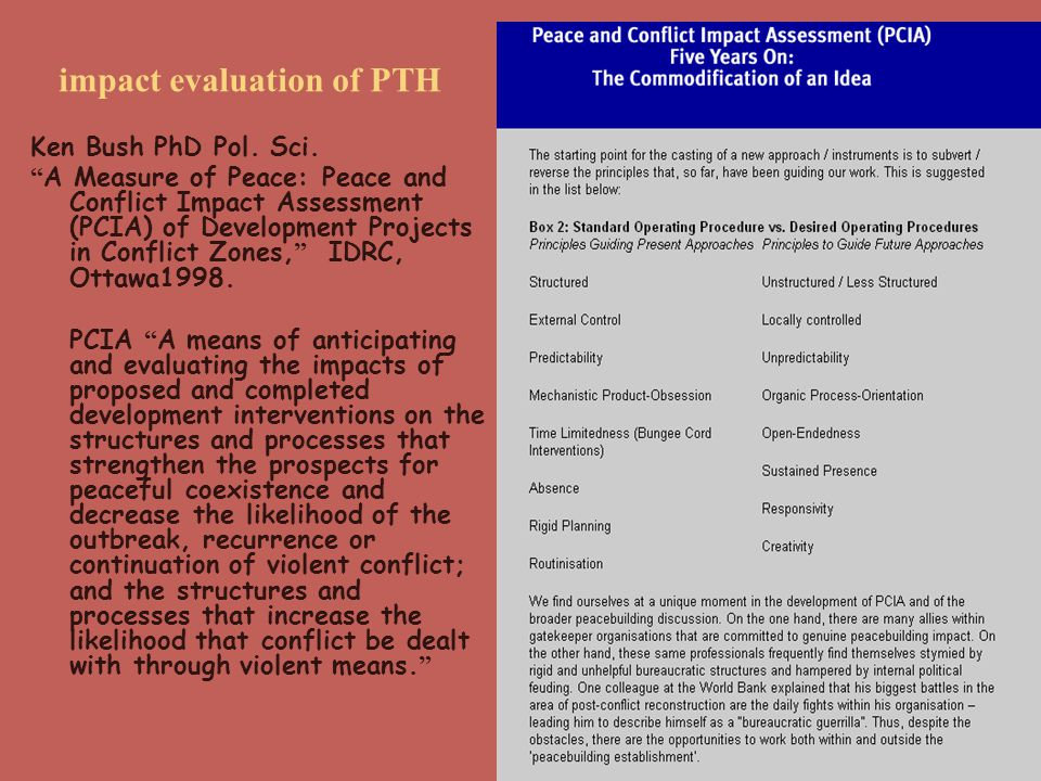 impact evaluation of PTH Ken Bush PhD Pol. Sci.