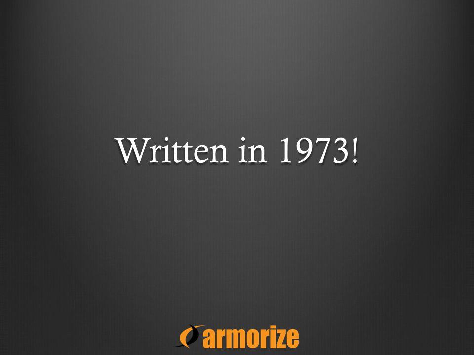 Written in 1973!