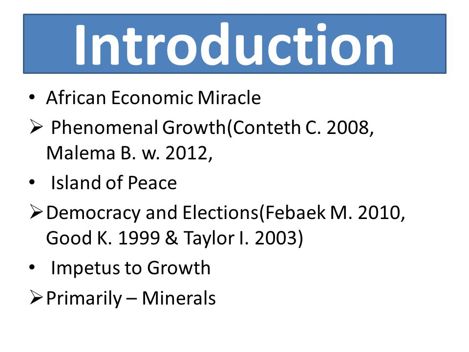 Introduction African Economic Miracle  Phenomenal Growth(Conteth C.