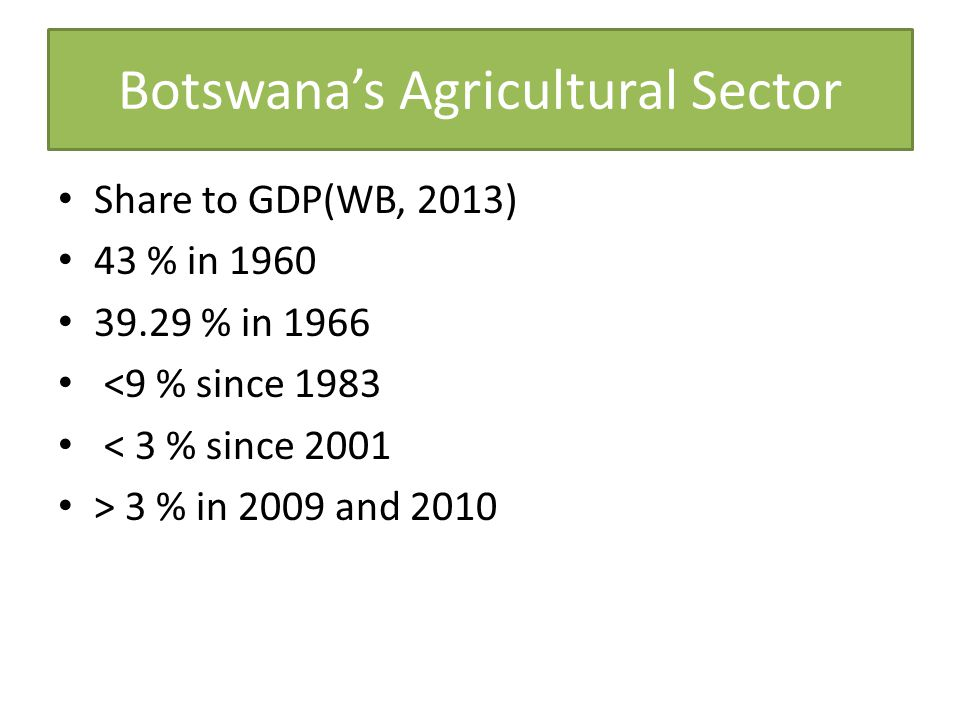 Botswana's Agricultural Sector Share to GDP(WB, 2013) 43 % in 1960 39.29 % in 1966 <9 % since 1983 < 3 % since 2001 > 3 % in 2009 and 2010