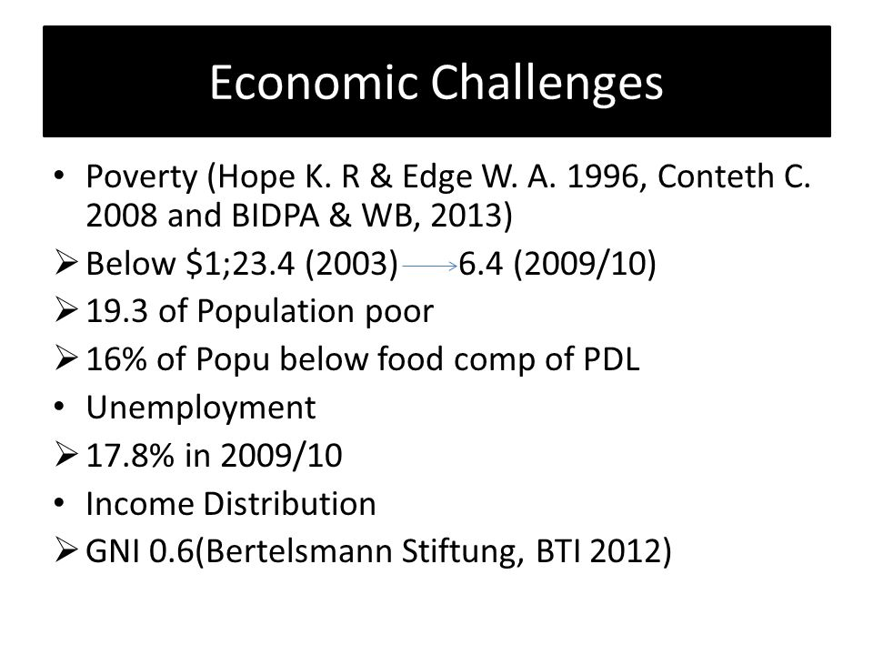 Economic Challenges Poverty (Hope K. R & Edge W. A.