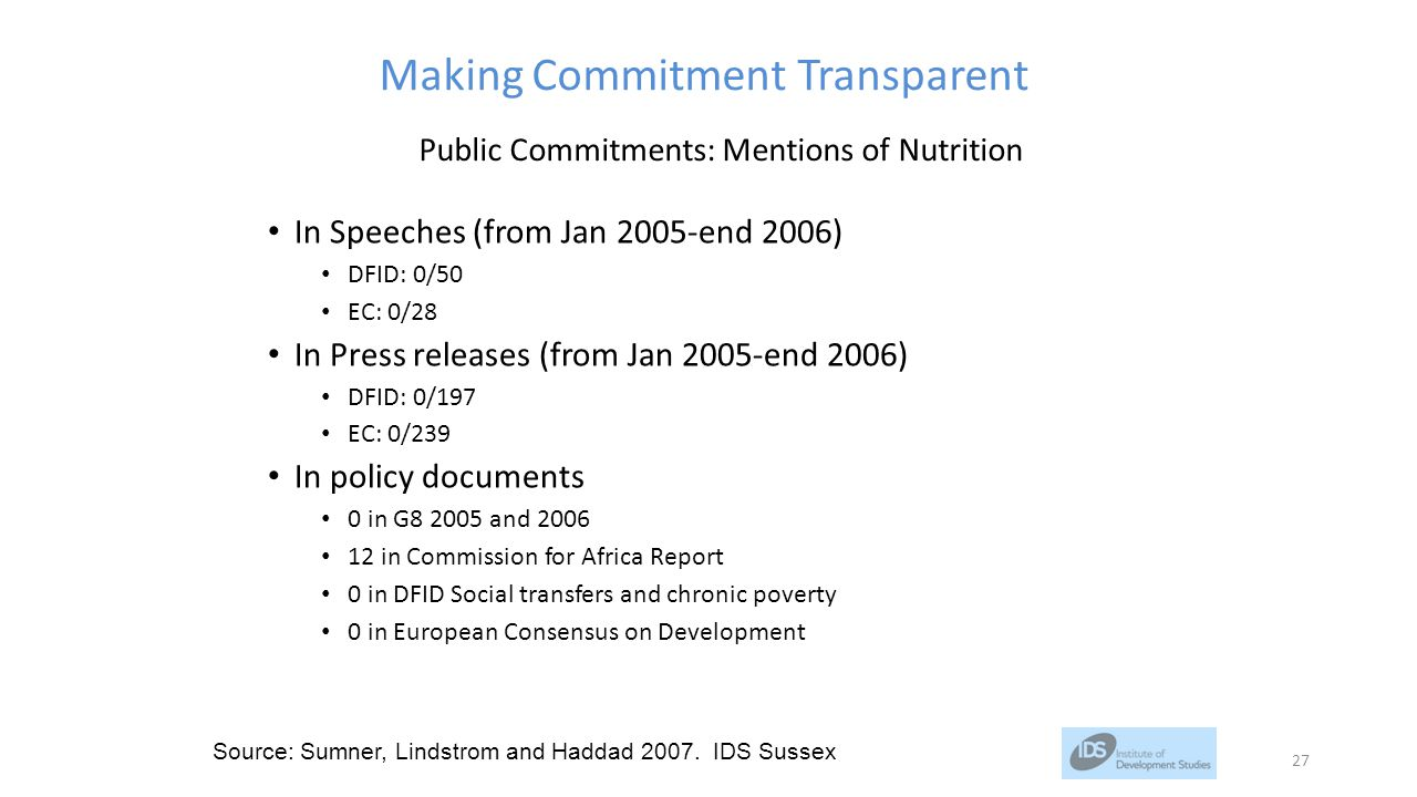 Making Commitment Transparent In Speeches (from Jan 2005-end 2006) DFID: 0/50 EC: 0/28 In Press releases (from Jan 2005-end 2006) DFID: 0/197 EC: 0/239 In policy documents 0 in G8 2005 and 2006 12 in Commission for Africa Report 0 in DFID Social transfers and chronic poverty 0 in European Consensus on Development Source: Sumner, Lindstrom and Haddad 2007.