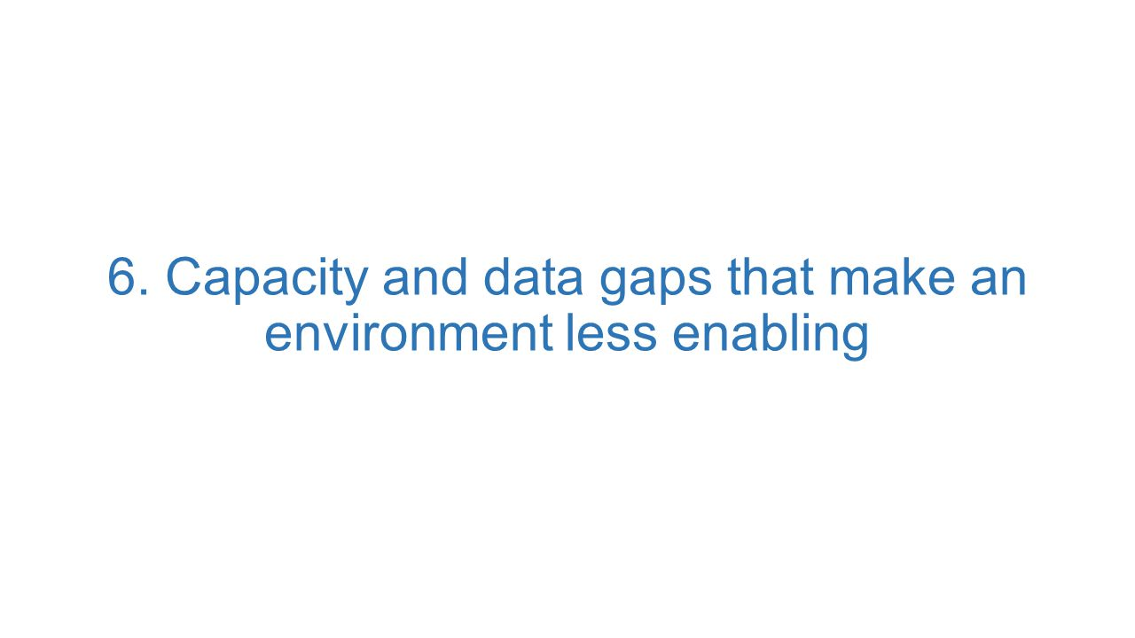 6. Capacity and data gaps that make an environment less enabling