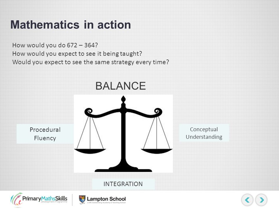 Mathematics in action BALANCE Procedural Fluency Conceptual Understanding INTEGRATION How would you do 672 – 364? How would you expect to see it being