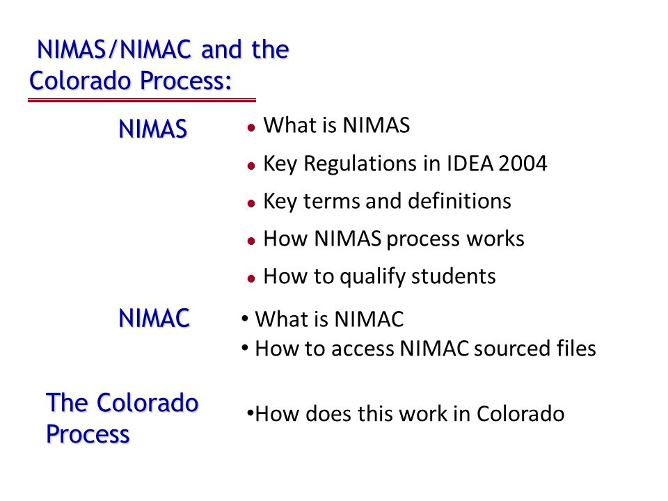NIMAS/NIMAC 2002 – National File Format (NFF) Technical Panel established 2003 – NFF Technical Panel Report defined NIMAS 2004 – NIMAS announced as voluntary standard 2004 – IDEA named NIMAS mandatory standard 2005 – NIMAC established by 12/2005 2006 – NIMAS published as final rule 7/19/2006 2006 – NIMAC operational by 12/2006