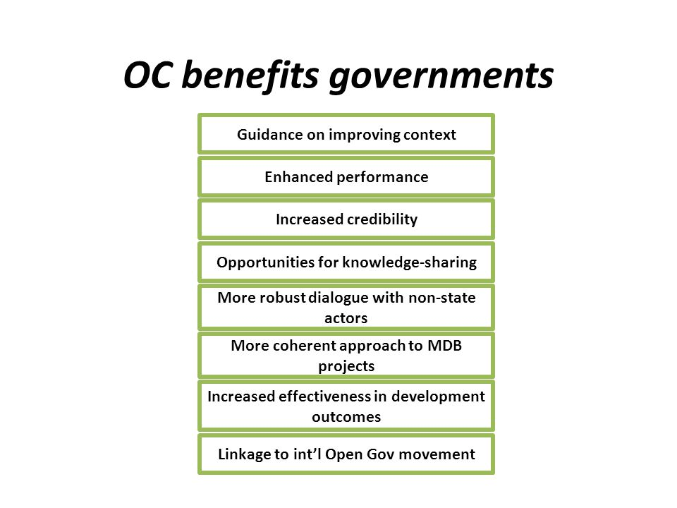 OC benefits governments Guidance on improving context Enhanced performance Increased credibility Opportunities for knowledge-sharing More robust dialogue with non-state actors More coherent approach to MDB projects Increased effectiveness in development outcomes Linkage to int'l Open Gov movement