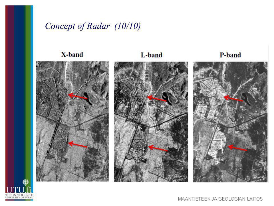 MAANTIETEEN JA GEOLOGIAN LAITOS Concept of Radar (10/10)