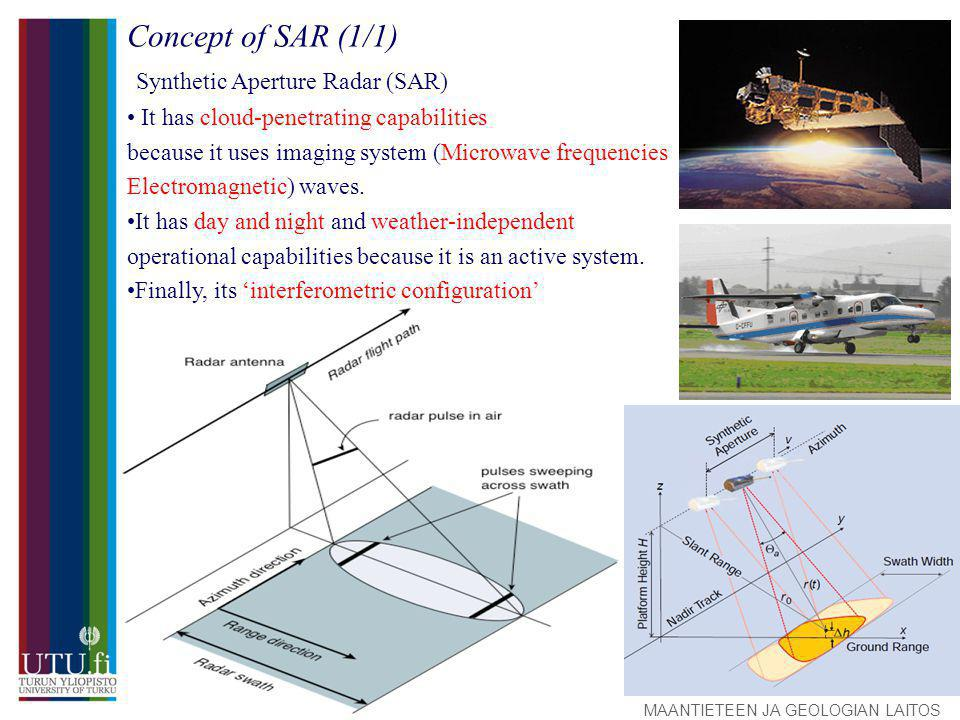 MAANTIETEEN JA GEOLOGIAN LAITOS Concept of SAR (1/1) Synthetic Aperture Radar (SAR) It has cloud-penetrating capabilities because it uses imaging system (Microwave frequencies Electromagnetic) waves.