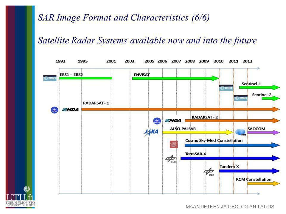 MAANTIETEEN JA GEOLOGIAN LAITOS SAR Image Format and Characteristics (6/6) Satellite Radar Systems available now and into the future