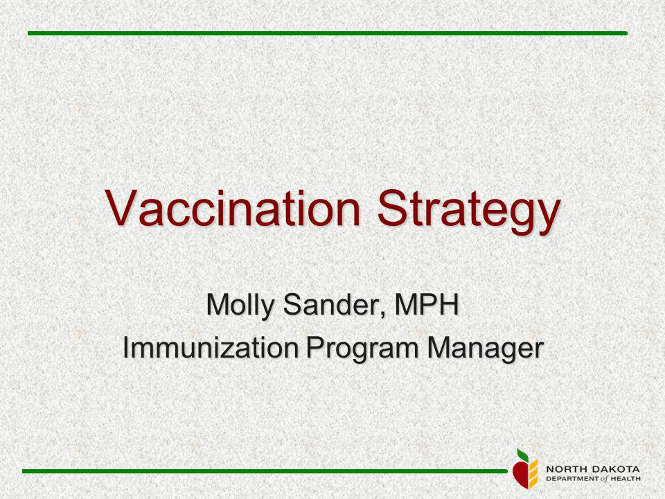 Vaccination Strategy Molly Sander, MPH Immunization Program Manager