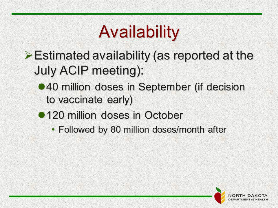 Availability  Estimated availability (as reported at the July ACIP meeting): 40 million doses in September (if decision to vaccinate early) 40 million doses in September (if decision to vaccinate early) 120 million doses in October 120 million doses in October Followed by 80 million doses/month afterFollowed by 80 million doses/month after