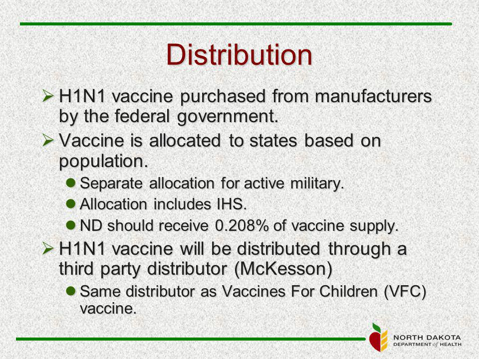 Distribution  H1N1 vaccine purchased from manufacturers by the federal government.