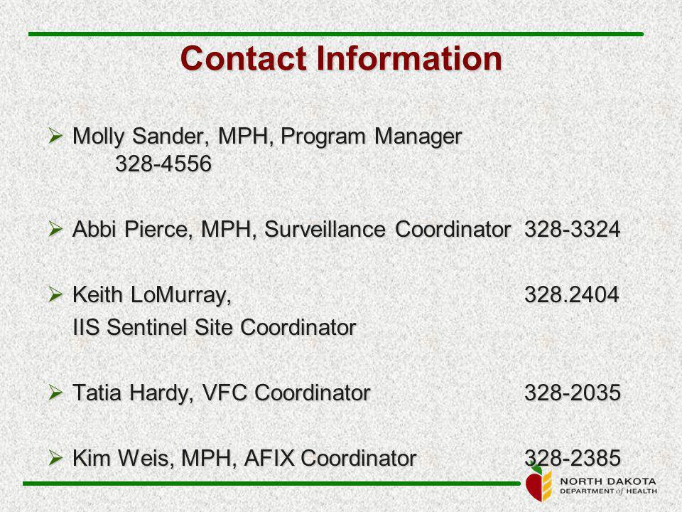 Contact Information  Molly Sander, MPH, Program Manager 328-4556  Abbi Pierce, MPH, Surveillance Coordinator 328-3324  Keith LoMurray, 328.2404 IIS Sentinel Site Coordinator  Tatia Hardy, VFC Coordinator328-2035  Kim Weis, MPH, AFIX Coordinator328-2385