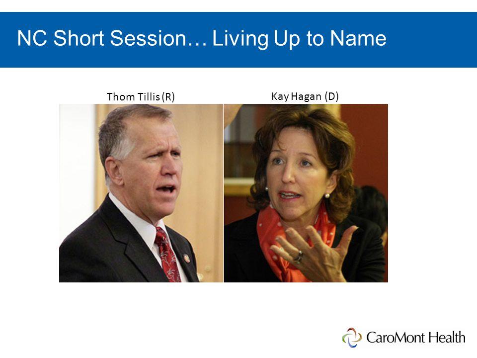 NC Short Session… Living Up to Name Thom Tillis (R) Kay Hagan (D)