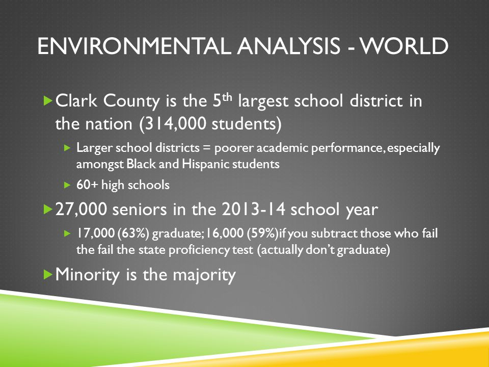 ENVIRONMENTAL ANALYSIS - WORLD  Clark County is the 5 th largest school district in the nation (314,000 students)  Larger school districts = poorer academic performance, especially amongst Black and Hispanic students  60+ high schools  27,000 seniors in the 2013-14 school year  17,000 (63%) graduate; 16,000 (59%)if you subtract those who fail the fail the state proficiency test (actually don't graduate)  Minority is the majority