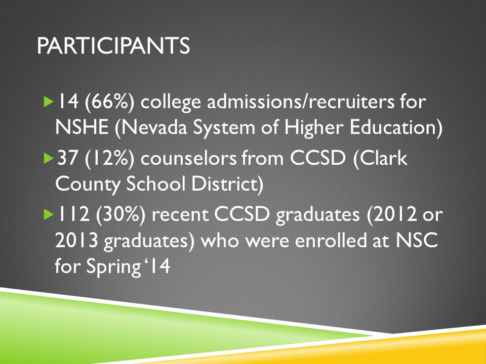 PARTICIPANTS  14 (66%) college admissions/recruiters for NSHE (Nevada System of Higher Education)  37 (12%) counselors from CCSD (Clark County School District)  112 (30%) recent CCSD graduates (2012 or 2013 graduates) who were enrolled at NSC for Spring '14