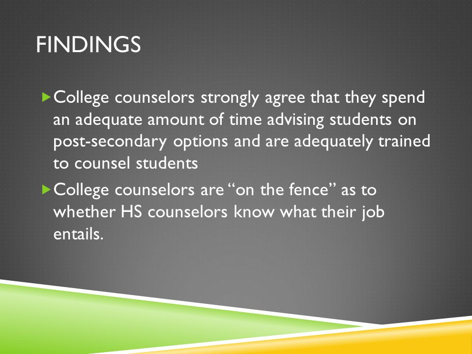 FINDINGS  College counselors strongly agree that they spend an adequate amount of time advising students on post-secondary options and are adequately trained to counsel students  College counselors are on the fence as to whether HS counselors know what their job entails.