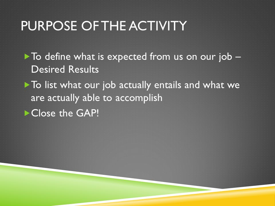 PURPOSE OF THE ACTIVITY  To define what is expected from us on our job – Desired Results  To list what our job actually entails and what we are actually able to accomplish  Close the GAP!