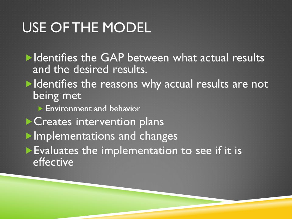 USE OF THE MODEL  Identifies the GAP between what actual results and the desired results.
