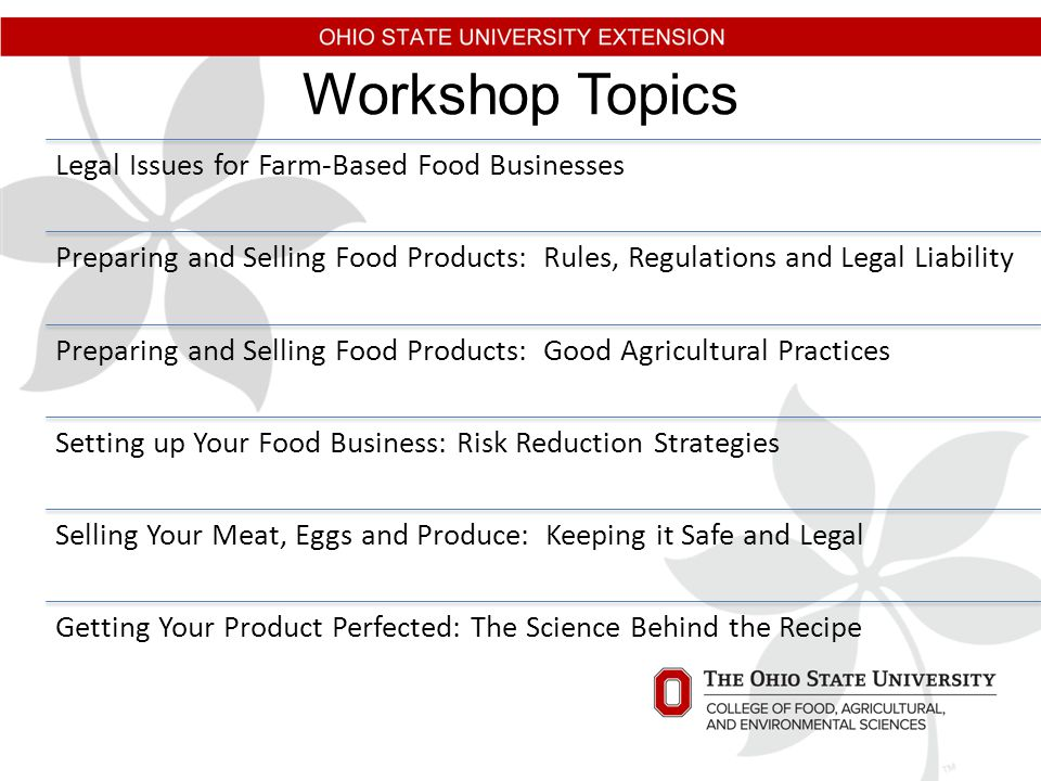 Workshop Topics Legal Issues for Farm-Based Food Businesses Preparing and Selling Food Products: Rules, Regulations and Legal Liability Preparing and Selling Food Products: Good Agricultural Practices Setting up Your Food Business: Risk Reduction Strategies Selling Your Meat, Eggs and Produce: Keeping it Safe and Legal Getting Your Product Perfected: The Science Behind the Recipe