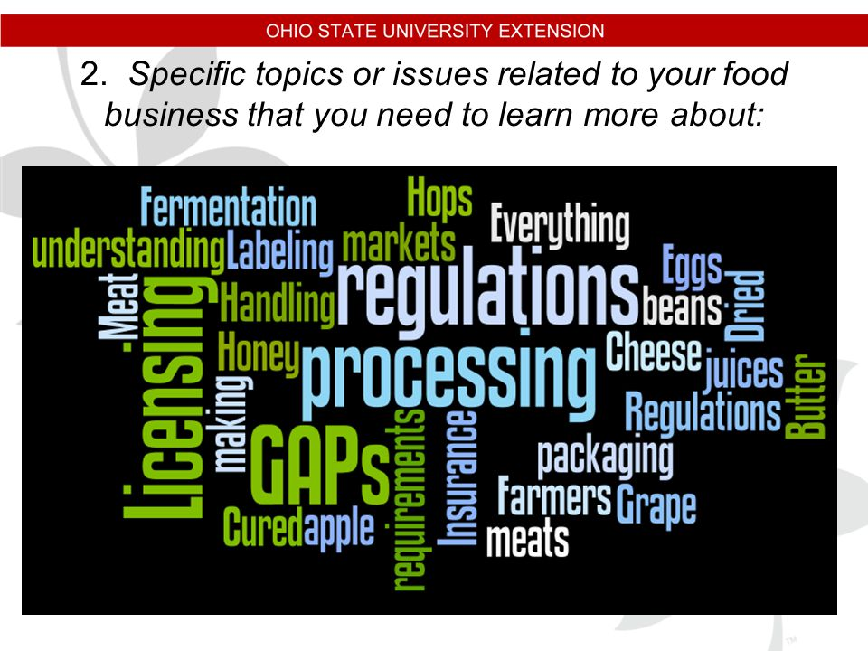 2. Specific topics or issues related to your food business that you need to learn more about: