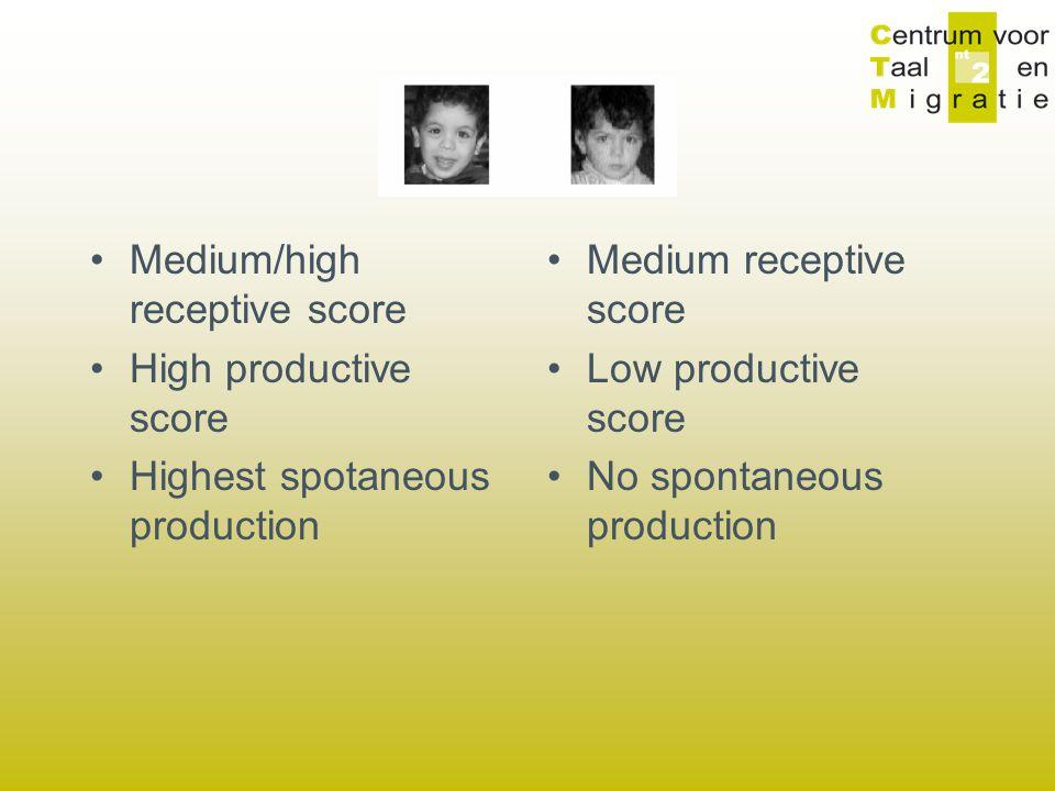 Medium/high receptive score High productive score Highest spotaneous production Medium receptive score Low productive score No spontaneous production