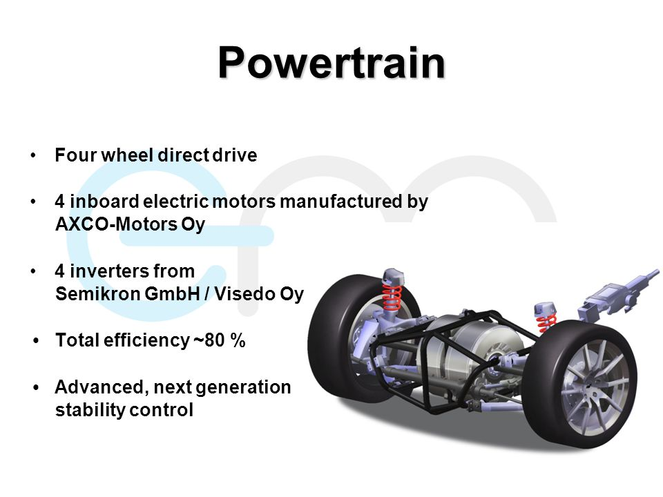 Powertrain Four wheel direct drive 4 inboard electric motors manufactured by AXCO-Motors Oy 4 inverters from Semikron GmbH / Visedo Oy Total efficiency ~80 % Advanced, next generation stability control