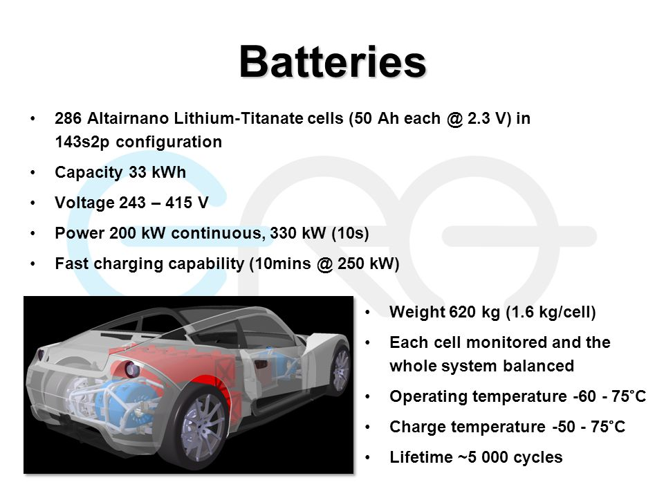 Batteries 286 Altairnano Lithium-Titanate cells (50 Ah each @ 2.3 V) in 143s2p configuration Capacity 33 kWh Voltage 243 – 415 V Power 200 kW continuous, 330 kW (10s) Fast charging capability (10mins @ 250 kW) Weight 620 kg (1.6 kg/cell) Each cell monitored and the whole system balanced Operating temperature -60 - 75°C Charge temperature -50 - 75°C Lifetime ~5 000 cycles
