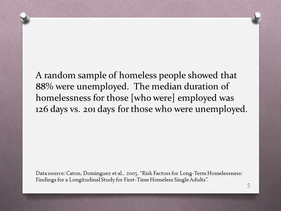 A random sample of homeless people showed that 88% were unemployed.