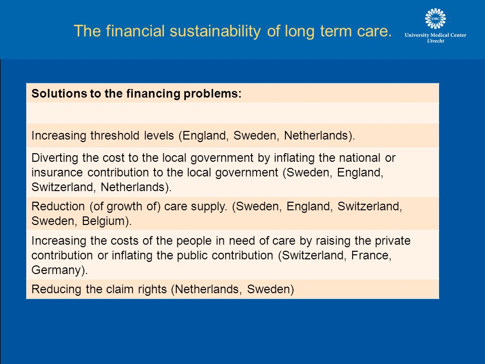The financial sustainability of long term care.