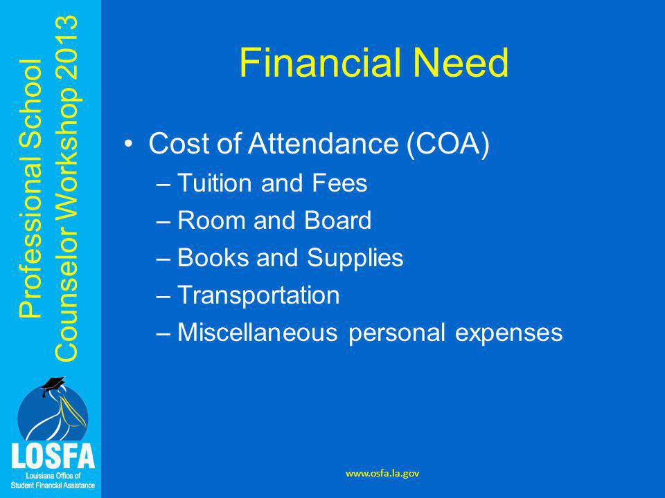 Professional School Counselor Workshop 2013 Financial Need Cost of Attendance (COA) –Tuition and Fees –Room and Board –Books and Supplies –Transportat