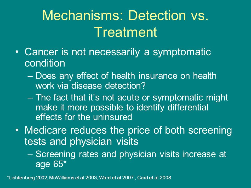 Mechanisms: Detection vs. Treatment Cancer is not necessarily a symptomatic condition –Does any effect of health insurance on health work via disease