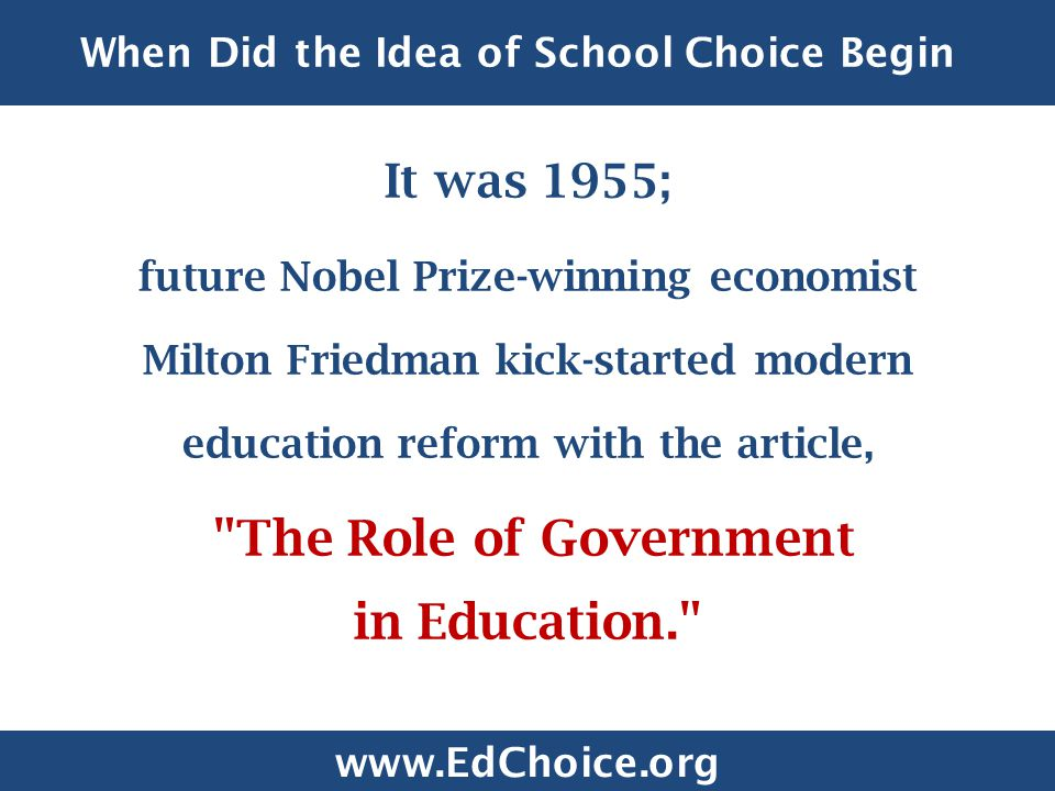 When Did the Idea of School Choice Begin .