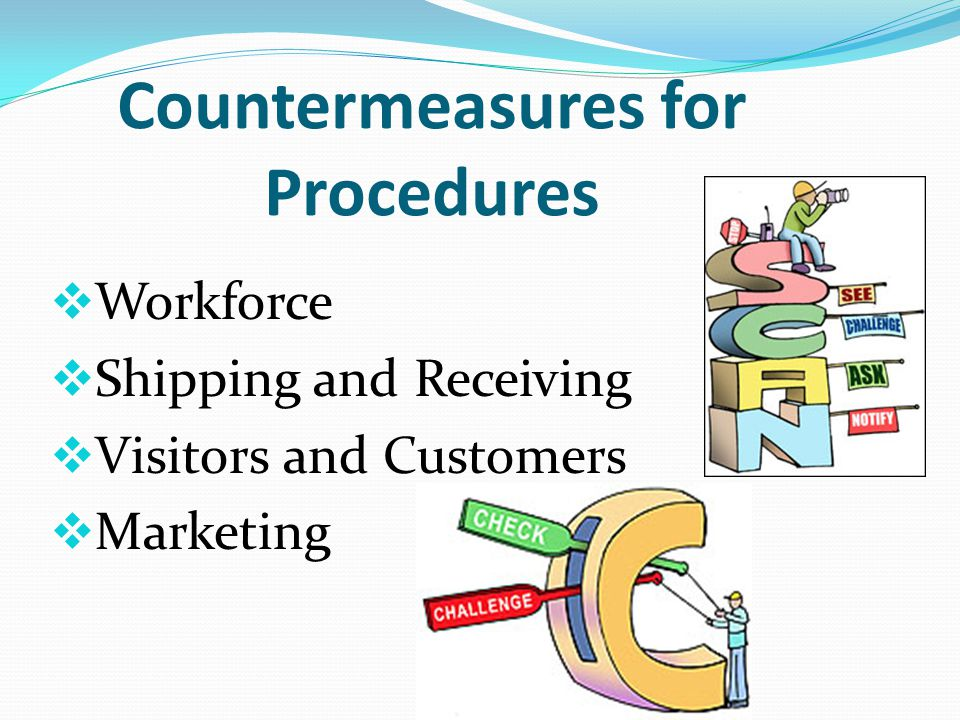 Areas to Consider for Countermeasure Development Procedures Facility Technology Personnel