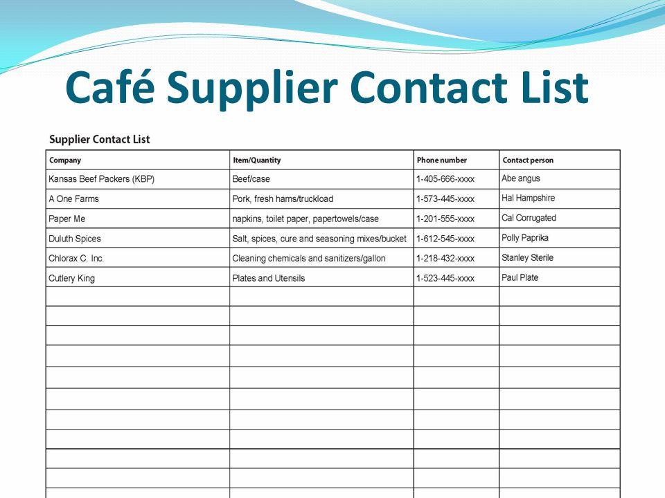 Café Emergency Phone List