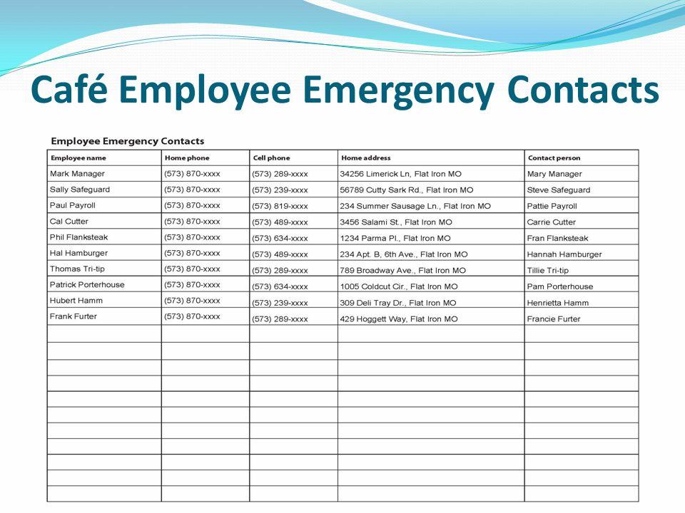 Café Supplier Contact List
