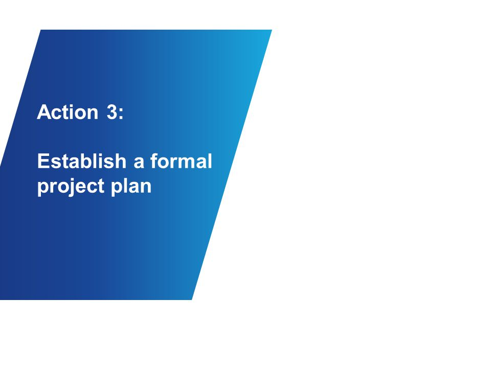 Action 3: Establish a formal project plan
