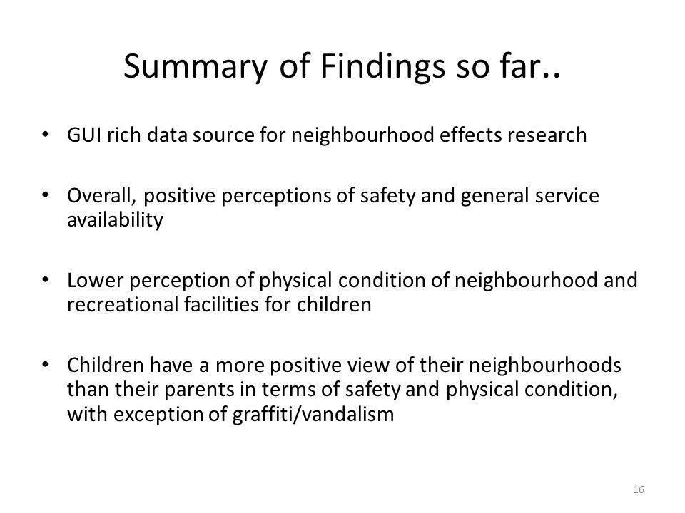Summary of Findings so far..