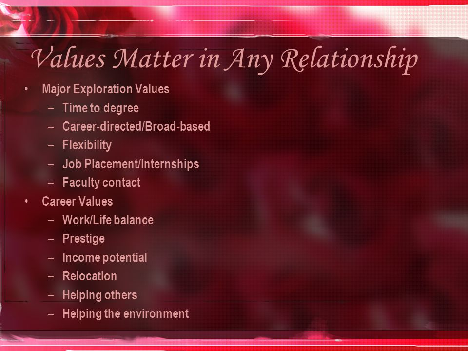 Values Matter in Any Relationship Major Exploration Values – Time to degree – Career-directed/Broad-based – Flexibility – Job Placement/Internships – Faculty contact Career Values – Work/Life balance – Prestige – Income potential – Relocation – Helping others – Helping the environment