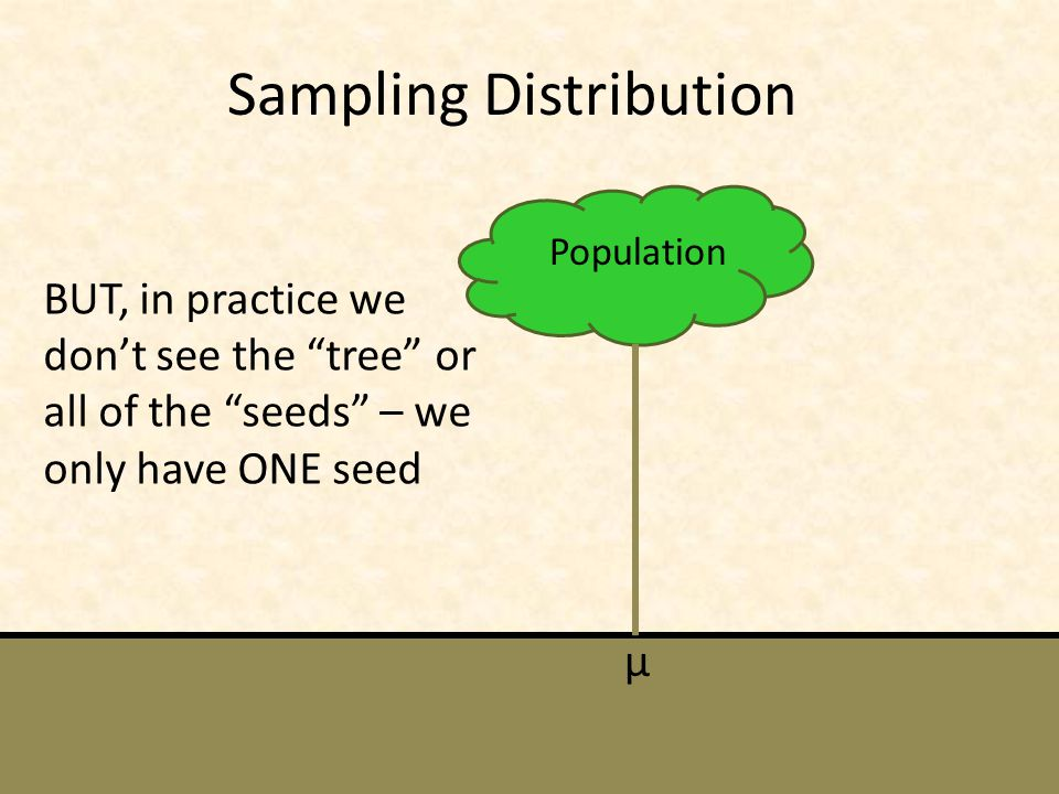 Sampling Distribution Population µ BUT, in practice we don't see the tree or all of the seeds – we only have ONE seed