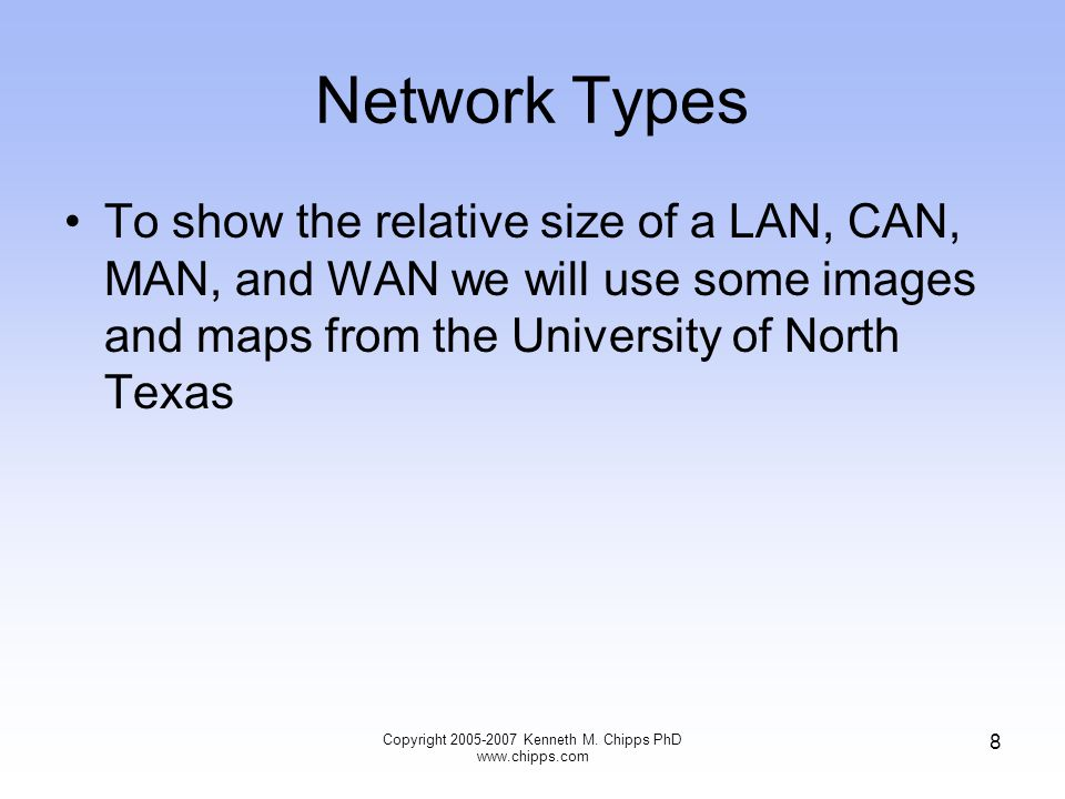 WAN This last network the WAN is the focus of this course Copyright 2009 Kenneth M.