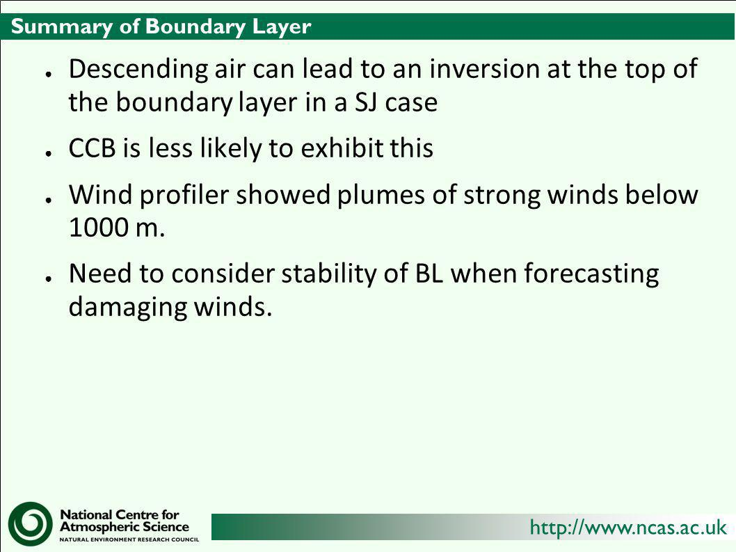 http://www.ncas.ac.uk Summary of Boundary Layer ● Descending air can lead to an inversion at the top of the boundary layer in a SJ case ● CCB is less likely to exhibit this ● Wind profiler showed plumes of strong winds below 1000 m.