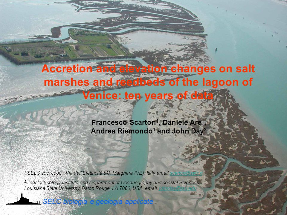 Francesco Scarton 1, Daniele Are 1, Andrea Rismondo 1 and John Day 2 Accretion and elevation changes on salt marshes and reedbeds of the lagoon of Ven
