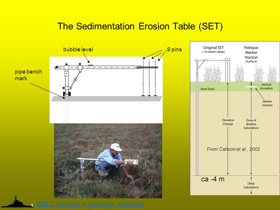 The Sedimentation Erosion Table (SET) 9 pinsbubble level pipe bench mark ca -4 m From Cahoon et al., 2002 SELC biologia e geologia applicate