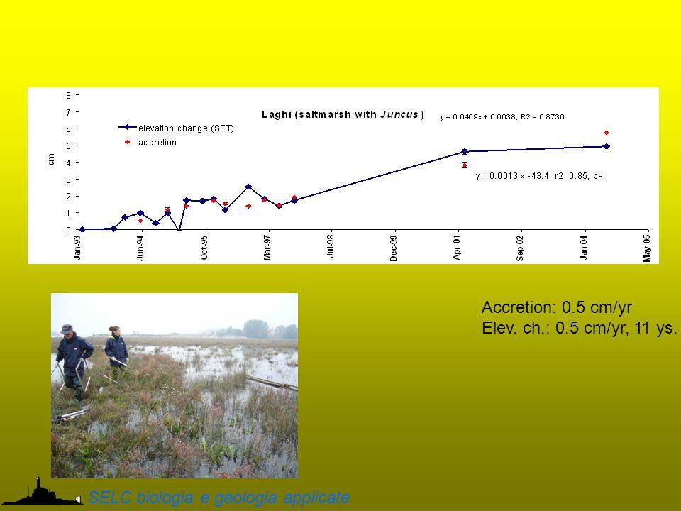 Accretion: 0.5 cm/yr Elev. ch.: 0.5 cm/yr, 11 ys. SELC biologia e geologia applicate