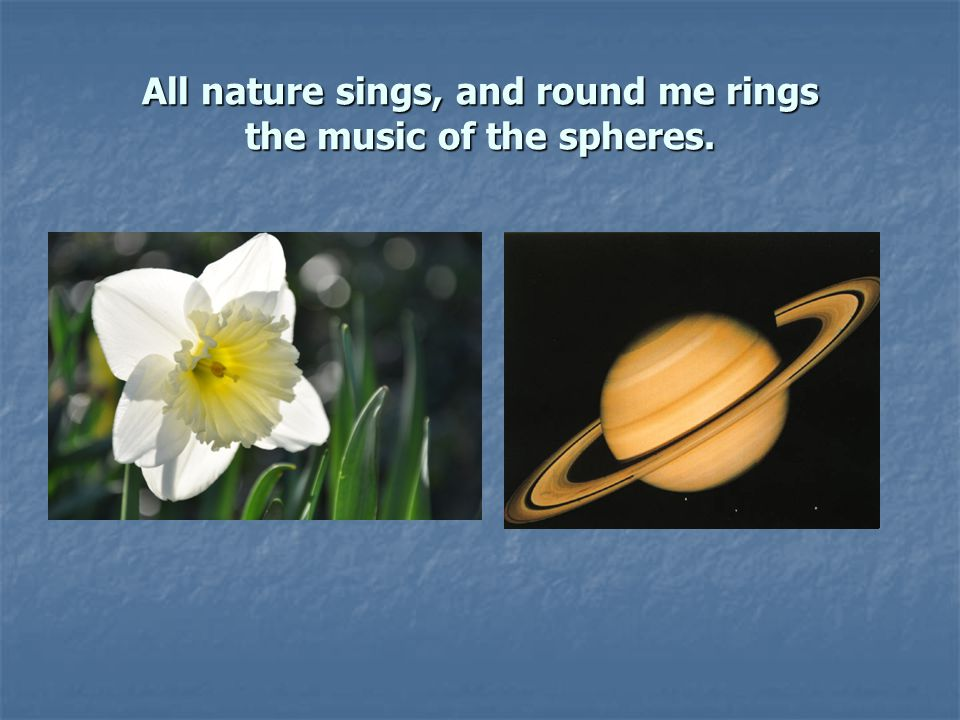 All nature sings, and round me rings the music of the spheres.