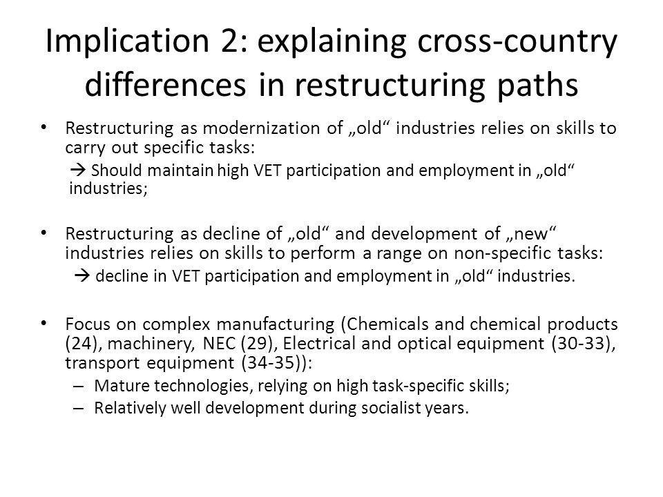 "Implication 2: explaining cross-country differences in restructuring paths Restructuring as modernization of ""old"" industries relies on skills to carr"